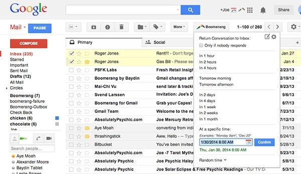 Boomerang para o Gmail